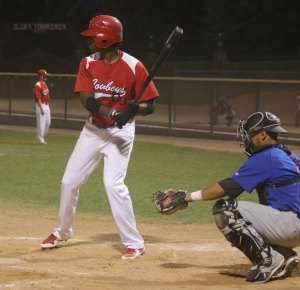 Casanova Donaldson leads the way. He was 6 for 6 with two home runs and four RBI's against the Santa Fe Fuego. Photo not from Sante Fe game but from a recent home game. (Courier Photo: Bryon Garrison)